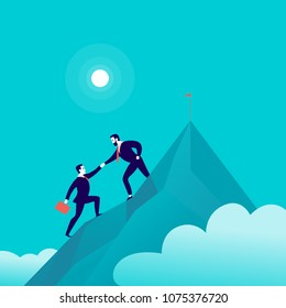 Vector flat illustration with business people climbing together on mountain peak top on blue clouded sky background. Team work, achievement, reaching aim, partnership, motivation, support, - metaphor.