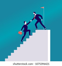 Vector flat illustration with business people climbing together on white stairs isolated on blue background. Team work, achievement, reaching aim, partnership, motivation, support - metaphor.