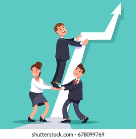 Vector flat illustration business persons work together to achieve the goal. Business teamwork  interactions concept