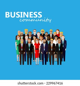 vector flat  illustration of business or politics community. a large group of men and women (business community or politicians) wearing suits, ties and dresses. summit or conference family image