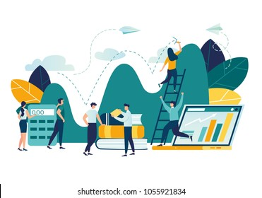 Vector flat illustration, business promotion, take-off on the career ladder, data analysis and investment infographics overview