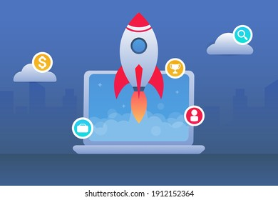 Vector flat illustration. Business startup concept. The rocket takes off from the laptop. The ability to do business at home. Can be used for presentation, websites and web banners. Business launch.