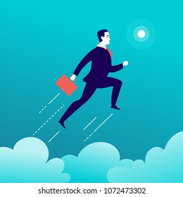 Vector flat illustration with businessman jumping above l couds on blue sky. Motivation, moving upwards, aspirations, new aims and perspectives, achievements - metaphor.
