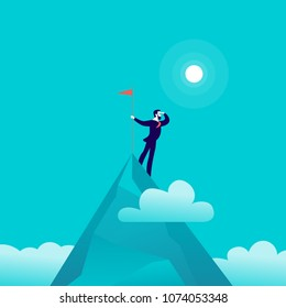 Vector flat illustration with businessman standing on top of mountain peak holding flag on blue clouded sky background. Victory, achievement, reaching aim, aspirations, motivation, leader - metaphor.