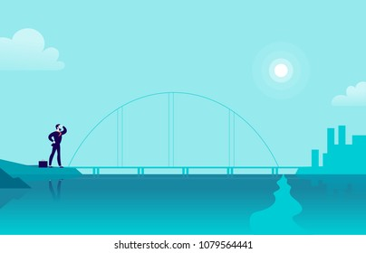 Vector flat illustration with businessman standing at sea coast bridge looking at city on another side. Metaphor for new achievements, aspirations, aims, leadership, career goals, motivation.