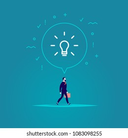 Vector flat illustration with businessman walking forwards his aim inspired new idea isolated on blue background. Metaphor for leadership, genius idea, aspirations, motivation, move on, just do it.