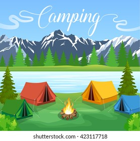 Vector flat illustration camping. Nature background with grass, forest, mountains and hills. Outdoor activities. Tent and fire camp