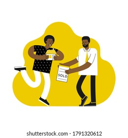 Vector flat illustration. Cartoon customer got home, mortgage broker gave him document for ownership after bank approves loan to buy home. African american men. Happy mortgagor. Minimalist concept