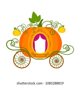 Vector flat illustration of cartoon pumpkin carriage isolated on white background