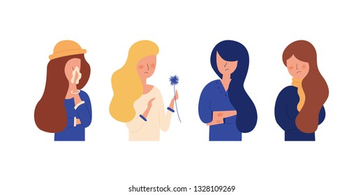 Vector Flat Illustration of Cartoon Set woman her nose handkerchief. Girl blonde suffers from allergies skin rash. Red spots redness on the face of the cheeks an unpleasant feeling allergic reaction.