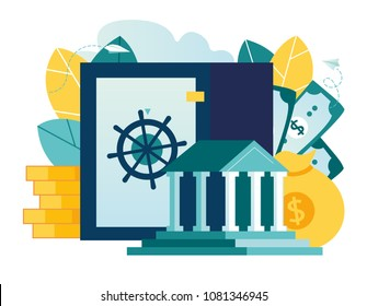 Vector flat illustration, closed bank safe, dollars in a safe deposit box and a money bag, safe savings, a depository of money, investing money in an account, the main bank