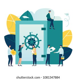 Vector flat illustration, closed bank safe, dollars in a deposit box and a cash bag, safe savings, a money deposit, bank employees, investing money on an account