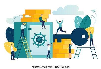 Vector flat illustration, closed bank safe open with a key, dollars in a deposit box and bag, safe deposit, cash deposit, bank employees, investing money in an account