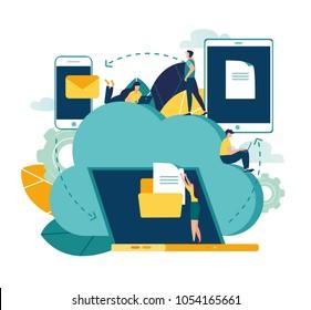 Vector flat illustration, cloud storage, data processing, message sending, illustration for web design marketing and printed materials.