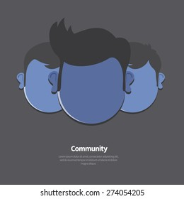 Vector flat illustration of Community, Group Friends.  Face of three persons. Team isolated on dark background.