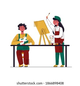 Vector flat illustration with concept of children s Amateur activities. It shows girl drawing picture on easel, boy sculpting dinosaur sculpture out of clay.