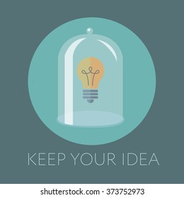 Vector flat illustration concept for keeping creative ideas and innovations, light bulb
