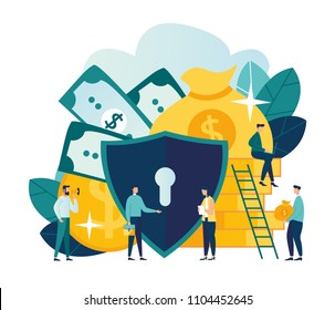 Vector flat illustration, concept of money protection, financial saving insurance, safe business economy