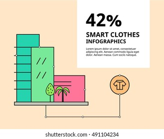 Vector flat illustration. Concept of smart city house. Creative infographic, stylish design template with text. Business presentation of bicycle service. Modern banner, card of clothes utility