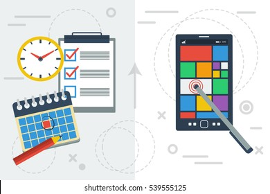Vector flat illustration concept of time planning with app on smart phone and paper and paper calendar and notes. Comparison of two popular ways to prepare the agenda