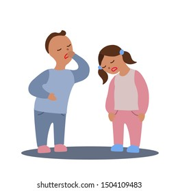 Vector flat illustration with couple of boy and girl with flu or cold symptoms. A boy has a cough and a girl has a weakness. A couple of kids having a cold together