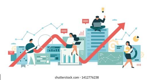 vector flat illustration, data analysis team, information management, teamwork marketing, conceptual of statistical research. modern banner design for website and application development