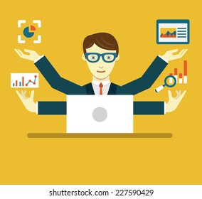 Vector Flat Illustration of Data Specialist with copy space for text - vector illustration