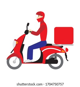 Vector flat illustration of delivery man on a scooter motorbike