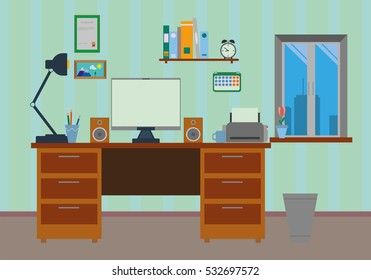 Vector flat illustration of design work desk with a computer, lamp and business objects