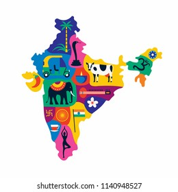 Vector flat illustration of detailed map of India, Asia with all landmarks. Palm tree, elephant, car, pepper, tea, yoga, flag, sitar, lotus flower, cow.