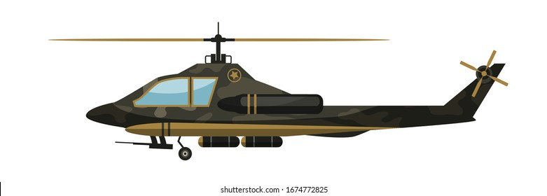 Vector flat illustration of detailed military helicopter in side view. Transport army chopper in camouflage. Design element for modern armament, ammunition in game and app isolated on white background