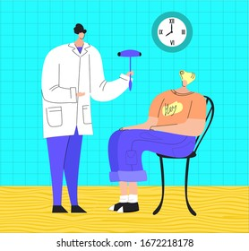 Vector flat illustration with doctor s office and neurologist s examination of young patient. Concept neurology, health, treatment, diagnostics degenerative, vascular diseases of brain, memory, etc.