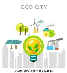 Vector flat illustration. Eco city with icons and elements.