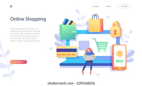 Vector flat illustration, E-commerce,  online shopping, buying and selling, for web page, banner, presentation, social media, documents, cards, posters. Online store.