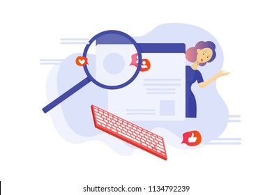 Vector flat illustration: Fact checking Communication via internet, journalist investigation, Investigative blogging banner. Investigative watchdog journalism or fact checking concept.