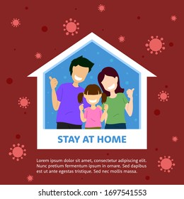 Vector flat illustration family smiling and staying at home together health care concept graphic. Protection campaign from coronavirus. Self quarantine to stop outbreak and protect virus spreading.