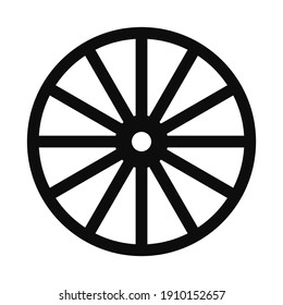 Vector flat illustration of far west style wagon wooden wheel icon - Black symbol isolated on white background