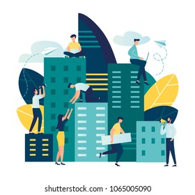 Vector flat illustration, Future city. Eco-friendly, smart, modern, high-rise buildings, the environment, the architecture of skyscrapers, popular business centers and other real estate. Working time