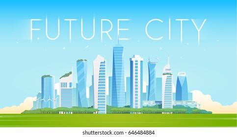 Vector flat illustration. Future city. Modern buildings. Green city.