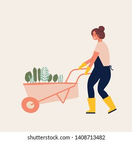 Vector flat illustration of gardener character. Young woman holding wheelbarrow of earth with plants