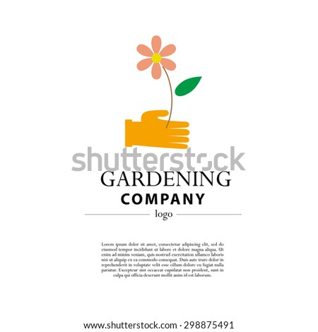 Bon Vector Flat Illustration Of Gardening Company Logo With Text Place.  Gardening Flat Icons Collection.