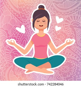 Vector flat illustration of girl doing relaxing meditation in yoga lotus asana pose (yoga position) on elegant lace pink gradient background. Yoga studio design template