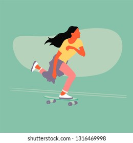 Vector flat illustration - Girl riding on a skateboard