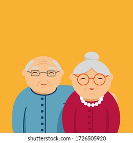 vector flat illustration of grandparents with empty space