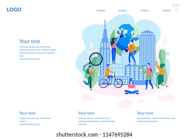 Vector flat illustration Green eco city for web page, banner, presentation, social media, documents, cards, posters. skyline, Environment, ecology, ecosystem, save planet