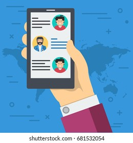 Vector flat illustration of hand with smart phone. Online consultation, chatting with a personal doctor. Concept of modern medicine and internet technology