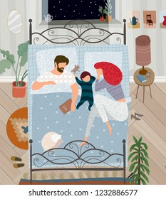 vector flat illustration of a happy family painted in gouache at home in the bedroom, mother, father, child and cat are sleeping in bed in a cozy apartment at night