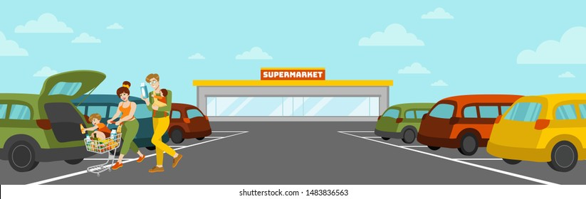Vector flat illustration. Happy family walking to their car with purchases. Shopping trip. Supermarket parking lot. Putting groceries in the open trunk. Mom, dad and kids. Paved area. Food trolley