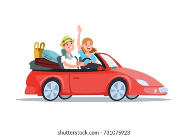 Vector flat illustration happy young couple riding in a red car on vacation. Design concept family travel on car