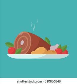 Vector flat illustration with hot cooked meat.Dinner flat cartoon design. Food icon.
